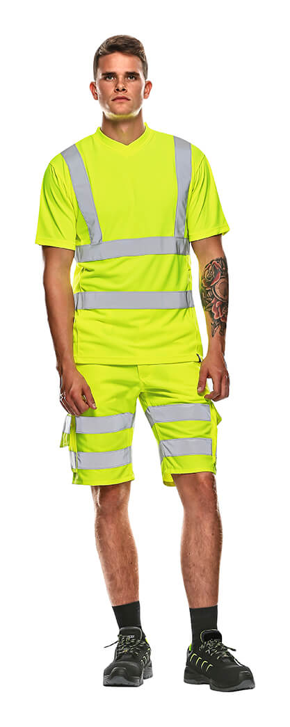 MASCOT® SAFE CLASSIC Szorty & T-Shirt - Model - Żółty hi-vis